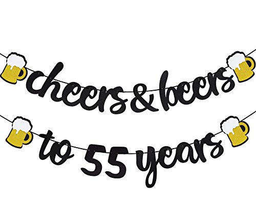 Cheers & Beers to 55 Years Black Glitter Banner for 55th birthday Wedding Aniversary Party Supplies Decorations - PRESTRUNG