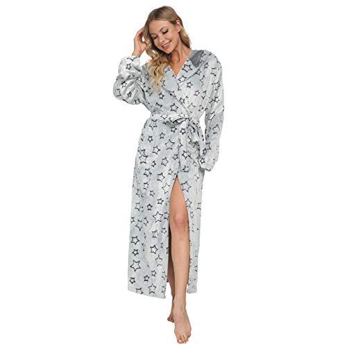 Mnemo Damen Fleece Bademantel mit Herzen Langarm Morgenmantel Saunamantel mit Kapuze und Taschen