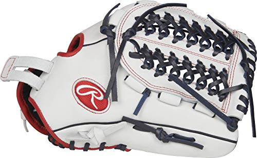 Rawlings RLA125FS-15WNS-0/3 Liberty Advanced Left-Handed Fastpitch Softball Glove, White/Scarlet/Navy, 12.5