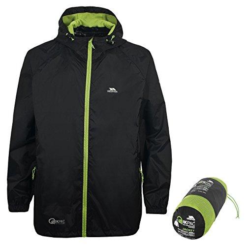 Trespass Unisex Erwachsene Qikpac Jacket Kompakt Zusammenrollbare Wasserdichte Regenjacke, Schwarz (Black), S