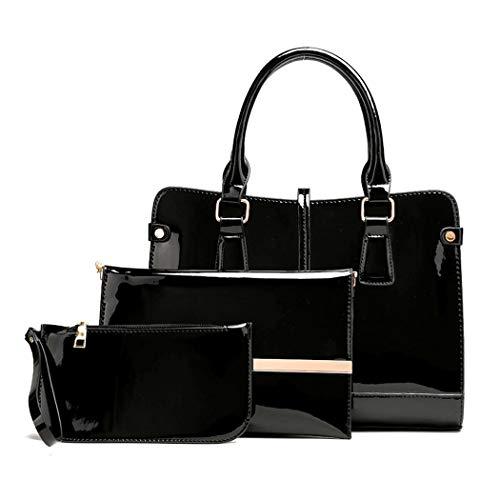 DEERWORD Damen Umhängetaschen Frau Handtaschen Lack PU-Leder Elegant Tote Schultertaschen 3-teilig Set Schwarz
