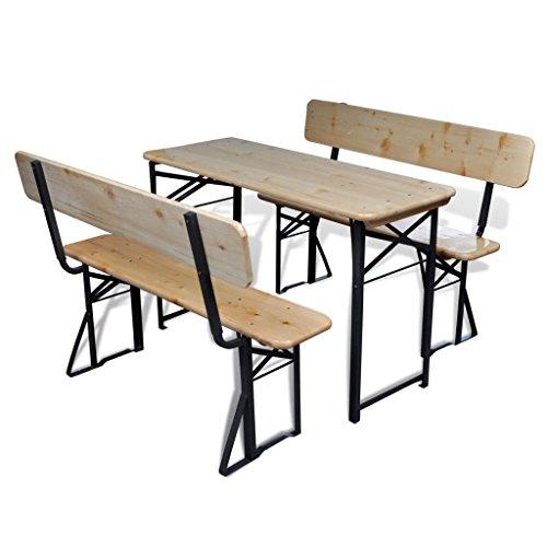 WEILANDEAL tuintafel inklapbaar met 2 banken van dennenhout 118 cm set van roestvrij staal dikte van het tafelblad: 2 cm