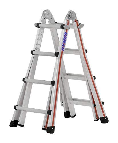 Hymer Teleskopleiter TELESTEP 4x4 (14 Sprossen, Anlegeleiter, Stehleiter, höhenverstellbar 25 cm Schritte) 804216