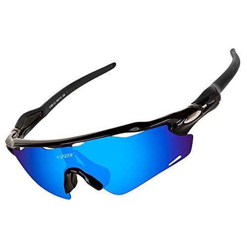 BATFOX Polarisierte Sonnenbrillen Fahrradbrille Radbrille Sportbrille Herren Damen für Radsport Fahrrad Baseball Skifahren Sport Brille mit Wechselobjektiven unzerbrechlichem Rahmen- Schwarz & Blau