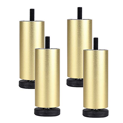 Adjustable M8 Furniture Legs in Golden, Aluminum Alloy Furniture Sofa Support Legs Replacement Feet for Coffee Table, TV Stand, Bench, Set of 4 (4/5/6/8/10inch)