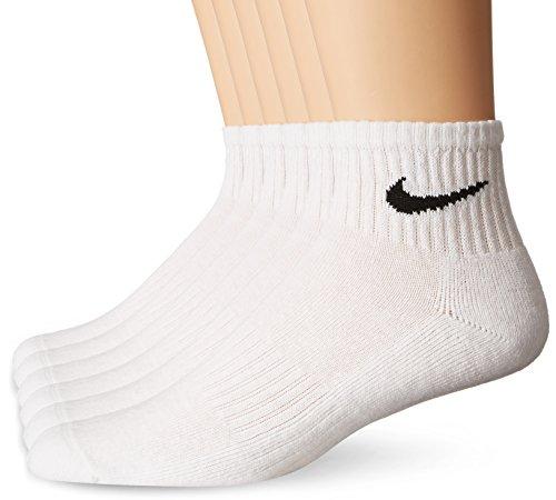 NIKE Unisex Performance Cushion Quarter Socks with Bag (6 Pairs), White/Black, Large