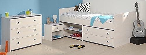 Wohnorama Schlafzimmer 3-TLG. inkl 90x200 Stauraumbett Smoozy 23a von Parisot Kiefer Weißs Blau by