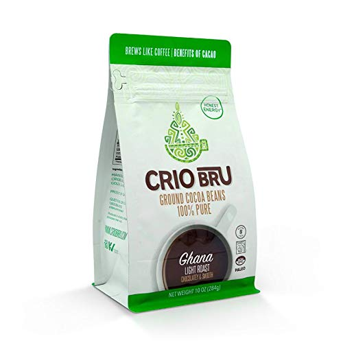 Crio Bru Ghana Light Roast 10oz Bag   Natural Healthy Brewed Cacao Drink   Great Substitute to Herbal Tea and Coffee   99% Caffeine Free Gluten Free Whole-30 Low Calorie Honest Energy