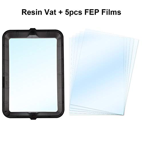 Tickas Resin Vat, Material Rack Resin Vat Light Curing 3D Printer Parts with 5pcs FEP Film 200 * 140mm Thickness 0.1mm Per Sheet Compatible with Wanhao D8 D7 UV Resin DLP SLA 3D Printer