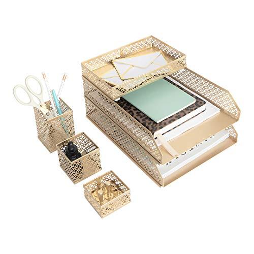 Blu Monaco Office Supplies Gold Desk Accessories for Women-6 Piece Interlocking Stylish Desk Organizer Set- Pen Cup, 3 Accessory Trays, 2 Letter Trays-Gold Office Paper Tray Holder