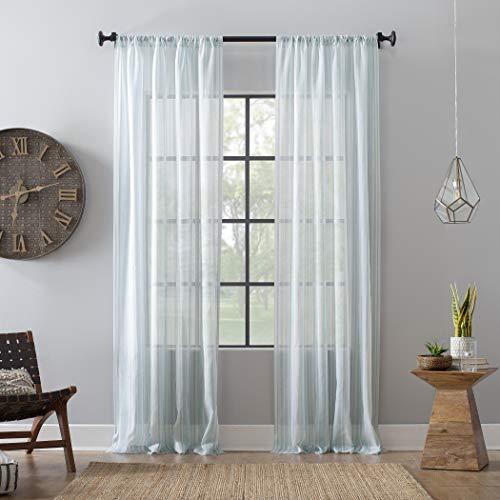 "Archaeo Ticking Stripe Textured Cotton Blend Sheer Curtain, 54"" x 84"", Aqua/White"