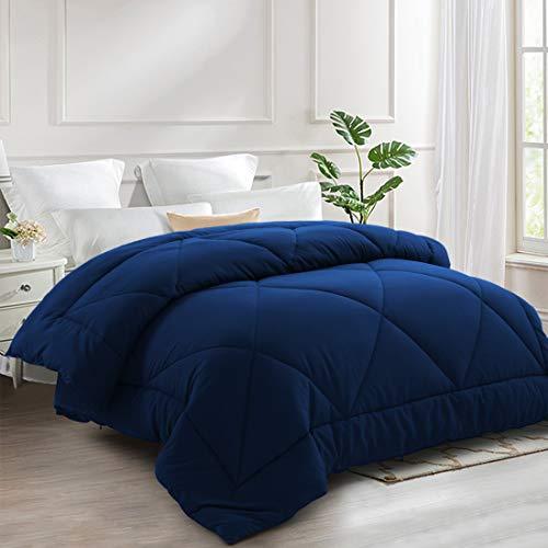 INGALIK All-Season Bed Comforter Best Soft Down Alternative Quilted Comforter with Corner Ties - Winter Warm - Machine Washable (Navy Blue, King(90×102inch))