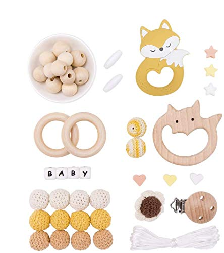 Baby Mamimami Home DIY Schnullerkette Kinderwagenkette selber basteln Greifling Fuchs gelb