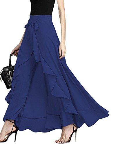 ShallGood ORANDESIGNE Damen Sommer Elegant Hosenrock Mode Hohe Taille Einfarbig Irregular Rüschen Freizeithose Yogahose Partykleid Lang Blau X-Large
