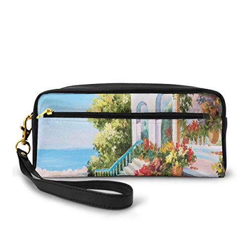 Pencil Case Pen Bag Pouch Stationary,Sea View from The Terrace of A Retro House Art Flowers Old Stairs,Small Makeup Bag Coin Purse