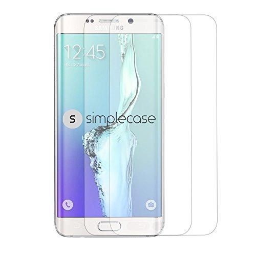 Simplecase Panzerglas passend zu Samsung Galaxy S6 Edge Plus , Premium Displayschutz , Schutz durch Extra Härtegrad 9H , Case Friendly , Echtglas / Verbundglas / Panzerglasfolie , Weiß - 2 Stück