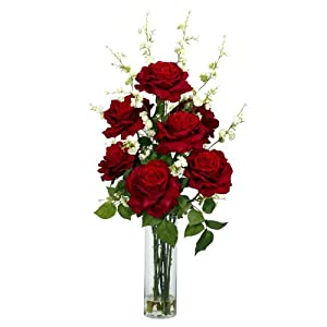 Nearly Natural Roses w/Cherry Blossoms Silk Flower Arrangement