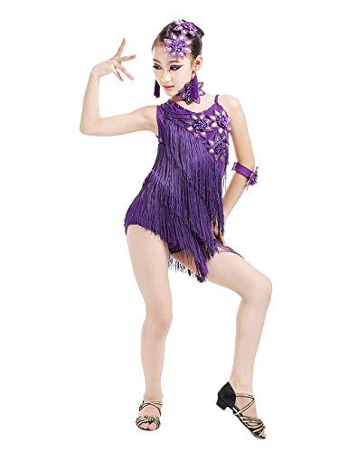 besbomig Kinder Salsa Tango Latein Dance Kleid Mädchen Quaste Pailletten Wettbewerb Dancewear Ballroom Partykleider