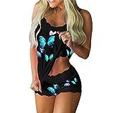 MUYOGRT 2 Pijamas para Mujer Conjuntos de Encaje Camisola+ Shorts Sexy Imprimir Sin Mangas Cami Lencerí Pijama Interior Tentación Babydoll Camisón Verano Impresión en Color(Azul Mariposa ,M)