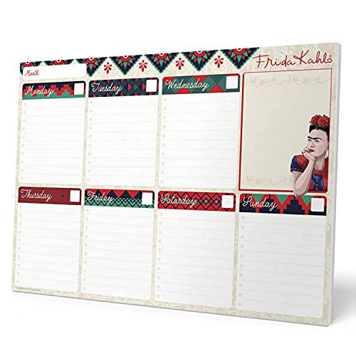 Erik - Planning da Tavolo Frida Kahlo, con planner settimanale e 54 fogli a strappo, perfetto come agenda appuntamenti