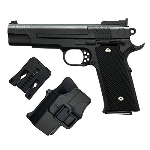 Airsoft Pistole Softair Rayline G20+ Voll Metall (Manuell Federdruck) inkl. Pistolenholster (Gürtel), Maßstab 1:1, Gewicht 660g, Länge 19,5cm, 6mm Kaliber, Farbe: Schwarz/Black