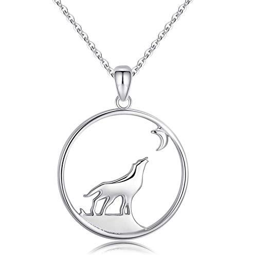925 Sterling Silber Wolf Kette Damen Anhänger Halskette für Frauen Wikinger Schmuck Valentinstag Geschenk für Jungen Valentinstagsgeschenk