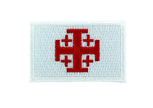 Akachafactory Gestickte Applikation, für Rucksack, Flagge Jerusalemkreuz, Tempelritter, Kreuzzug, Weiß
