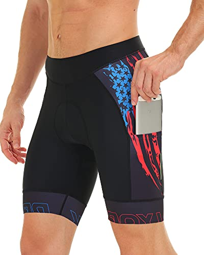 DEALYORK Men's Cycling Shorts Padded with Pockets, Bicycle Riding Bike Shorts Quick-Dry Men Half Pants (XL, U.S Flag)