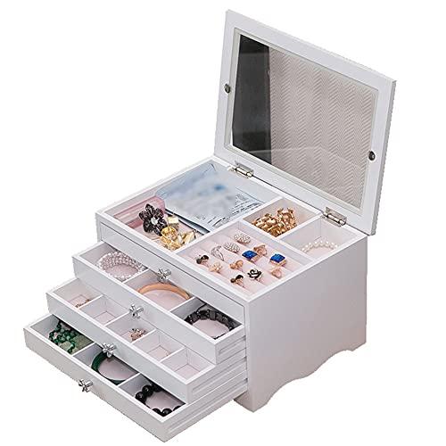 WUQIAO Boîte de Rangement de Bureau de Type tiroir de boîte à Bijoux Multicouche en Bois, pour Les Anneaux de Boucle d'oreille de Bracelet de Collier