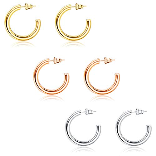 LOYALLOOK 3 Pairs 14K Gold Plated Lightweight Tube Chunky Open Hoops Thick Gold Hoop Earrings for Women Half Chunky Gold Hoop Earrings 30/40/50MM
