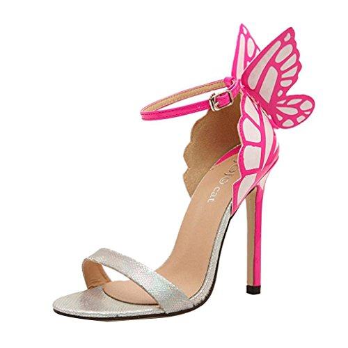 Minetom Damen Frauen Sommer schleife Schmetterling Schuhe High Heel Sandalen Pumps Abendschuhe ( Silber EU 39 )