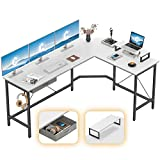 CubiCubi L-Shaped Desk Computer Corner Desk, Home Office Gaming Table, Sturdy Writing Workstation with Small Table Space-Saving, Easy to Assemble, White