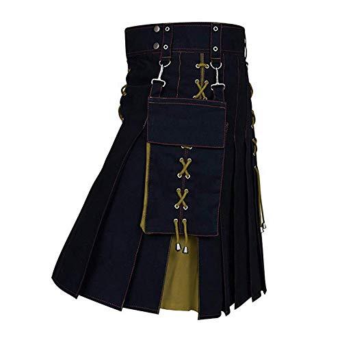 Kurz Hose Utility Kilt Hybrid Shorts Röcke Mode Vintage Kilt Für Herren Scottish Traditional Retro Pattern Bandage Patchwork Rock Asiansizel Khaki