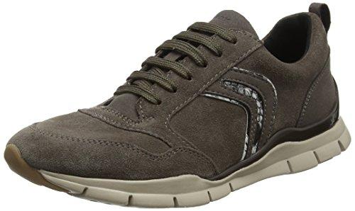 Sneakers für Damen - 3D-Gummisohle mit geringem Gewicht, Lederobermaterial, Braune Farbe