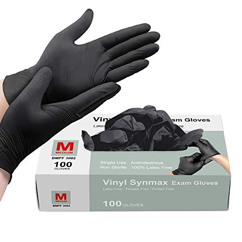 Disposable Gloves Black, Squish Vinyl Gloves Latex Free Powder-Free Glove Cleaning Gloves for Industrial Kitchen Cooking Cleaning Food Handling, 100PCS/Box, M