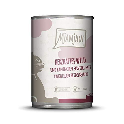 MjAMjAM - Premium Nassfutter für Katzen - herzhaftes Wild & Kaninchen an fruchtigen Heidelbeeren, 1er Pack (1 x 400 g), getreidefrei mit extra viel Fleisch
