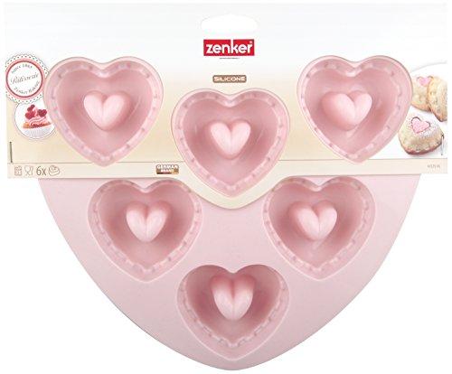 Zenker Linea Love Stampo Muffin 6 Impronte Cuore Silicone, Rosa, 25.5x22.5x3 cm