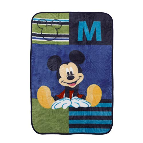Disney Mickey Mouse Luxury Plush Throw Baby Blanket, Navy/Lime/Red/Yellow