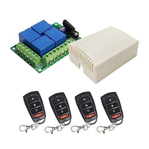 QIACHIP 12V Inalámbricos Interruptor de Control Remoto Módulo Relé Con RF 433Mhz Inteligente Conmutador Transmisor Mando a Distancia, 4 Transceptor + 1 Receptor for Security Systems Gate with 164ft