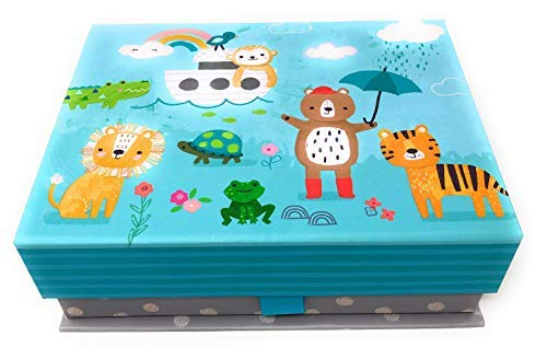 Clementine Cute Noahs Ark Animals Decorative Storage Gift Box (Small) | 8X6X2.5 in