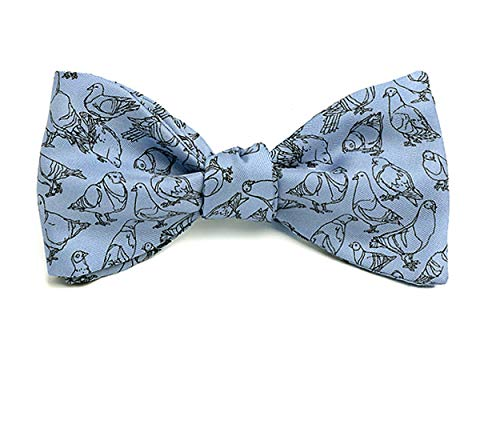 Josh Bach Men's Pigeons Self Tie Silk Bow Tie in Blue, Made in USA