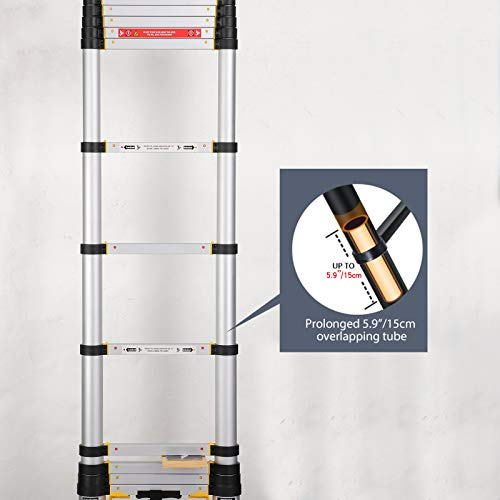 12.5FT Aluminum Telescopic Extension Multi-Purpose Ladder,Telescoping Ladder,One-Button Retraction Extension Ladder,Telescopic Compact Ladders for Home。