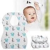 HUANRU 20 baberos desechables para bebé, 3 capas, ajustables, protección de la ropa del bebé, para niños y niñas