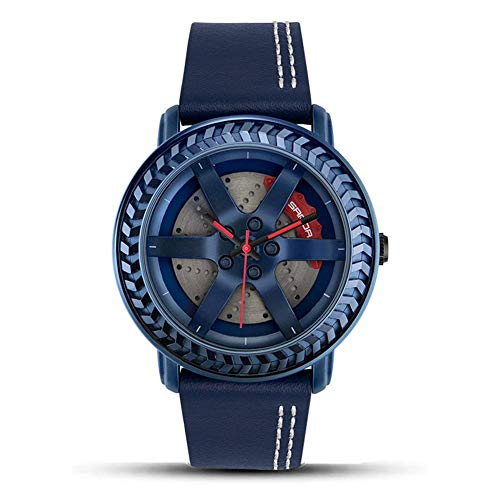 AYDQC Reloj Digital Resistente al Agua Hombres 3D Tridimensional Hueco del diseño del Reloj Deportivo for Hombre con Correa de Cuero multifunción Choque Cronómetro Resistente, Azul fengong
