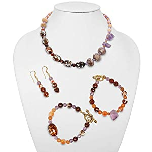 One of a Kind Fire Agate, Aventurine, Amethyst and Mixed Gemstones Necklace, Bracelets, and Earrings