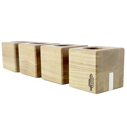 Kandelaar kvar, kandelaar van hout | Kandelaar voor 4 kaarsen, hout, natuur, 38 x 8 x 8 cm