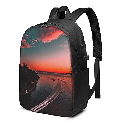Sunset Ocean Cloudscape, zaino da viaggio per computer portatile con porta di ricarica USB per uomini e donne 17', Come mostrato, Taglia unica,