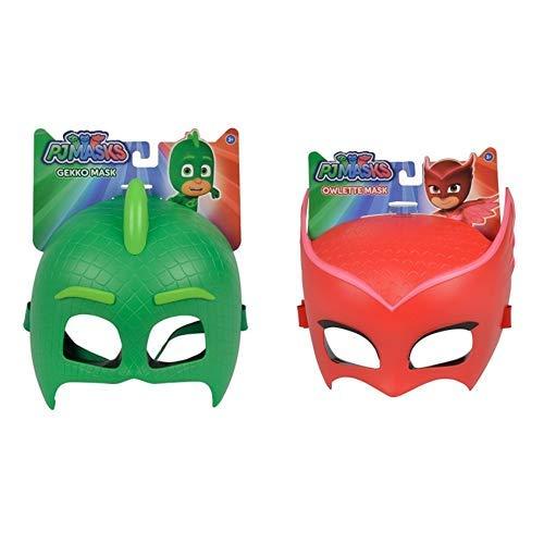 Simba 109402091 Maske Gecko, Grün, One Size &  109402092 Maske Eulette, Rot, One Size