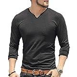 Hombres Manga Larga/Corta Camiseta fornida Ajustado Casual Algodón Cuello Pico Camisetas Básicas Talla M