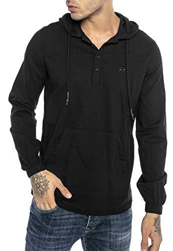 Redbridge Camisa de Lino para Hombre Sudadera con Capuche Suéter Fino Tunik Hooded Negro XL